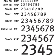rubber stamp font sizes