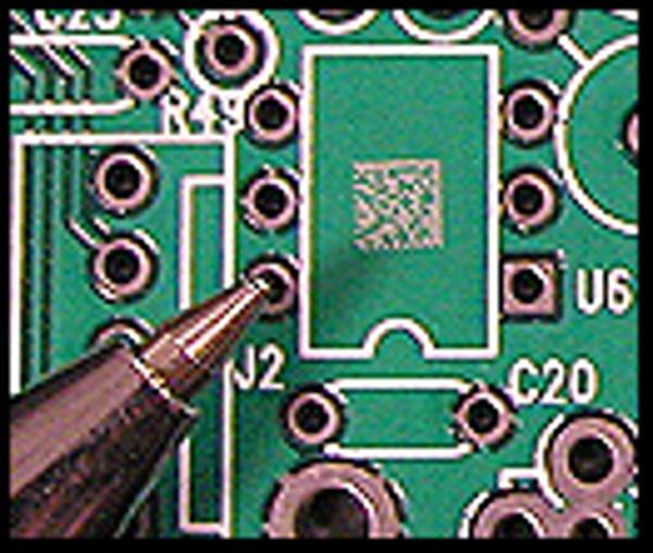Mark 2D Datamatrix bar codes on plastics and circuit boards.