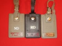 hot stamped letters on luggage tags
